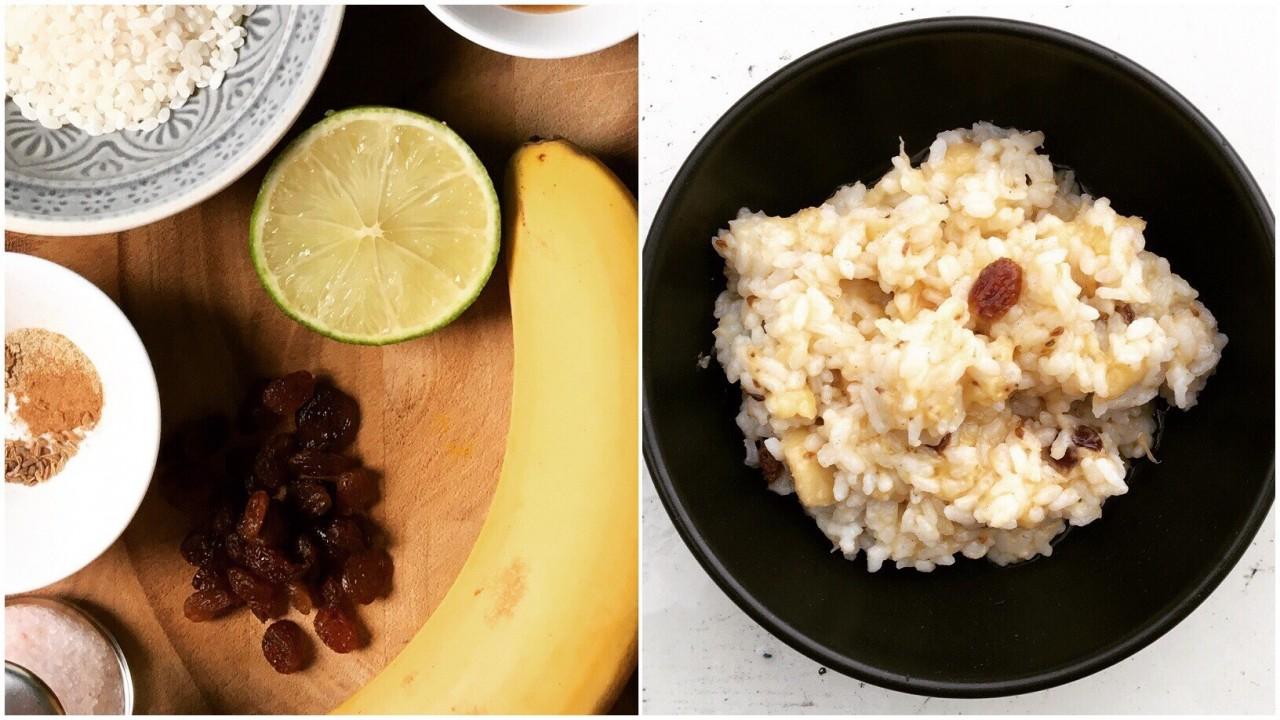 Reis-Bananen-Frühstück